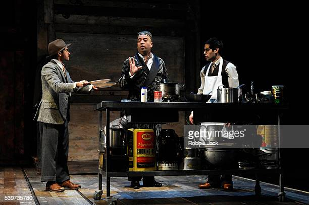 Neet Mohan as EggNod Sacha Dhawan as Mushi and Attar as Aaron Neil in Richard Bean's play 'England People Very Nice' directed by Nicholas Hytner at...