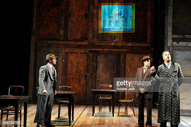 Neet Mohan as EggNodSacha Dhawan as Mushi and Attar as Aaron Neil in Richard Bean's play 'England People Very Nice' directed by Nicholas Hytner at...