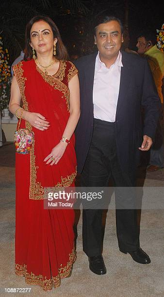 Neeta Ambani and Mukesh Ambani at Imran Khan and Avantika Malik's wedding reception party which was organised by Aamir Khan and Kiran Rao at Taj...
