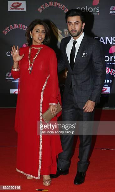 Neetu Singh and Ranbir Kapoor during Sansui Colors Stardust Awards 2016 in Mumbai