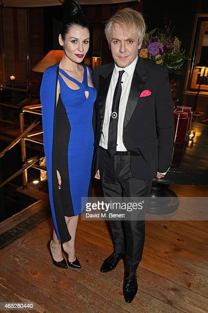 Nefer Suvio and Nick Rhodes attend Anthony Price's 70th birthday party hosted by Nick Rhodes at Blakes Hotel on March 5 2015 in London England