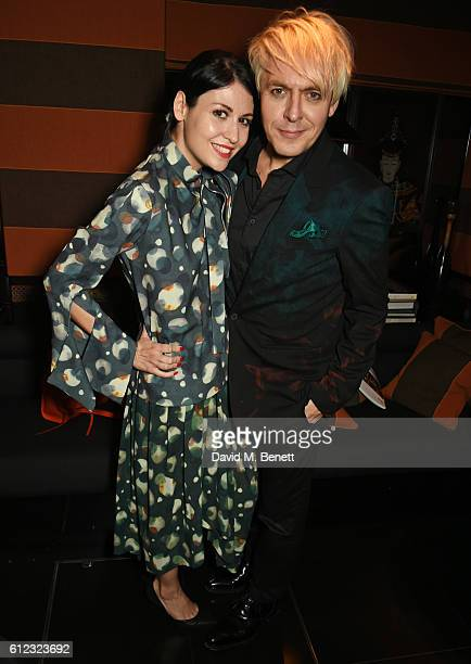 Nefer Suvio and Nick Rhodes attend the launch of 'The Auctioneer' by Simon De Pury and 'Whitewaller' guest edited by Lauren Prakke at Blakes Below on...
