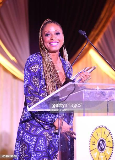 Nefertite Nguvu speak onstage at 2017 BronzeLens Film Festival Women SuperStars Luncheon at Westin Peachtree Plaza on August 25 2017 in Atlanta...