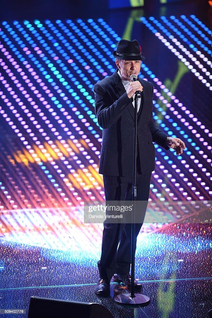 Neffa attends second night of the 66th Festival di Sanremo 2016 at Teatro Ariston on February 10, 2016 in Sanremo, Italy.