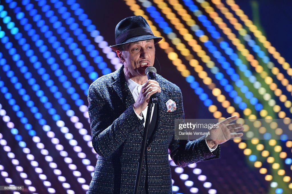 Neffa attends the fourth night of the 66th Festival di Sanremo 2016 at Teatro Ariston on February 12, 2016 in Sanremo, Italy.