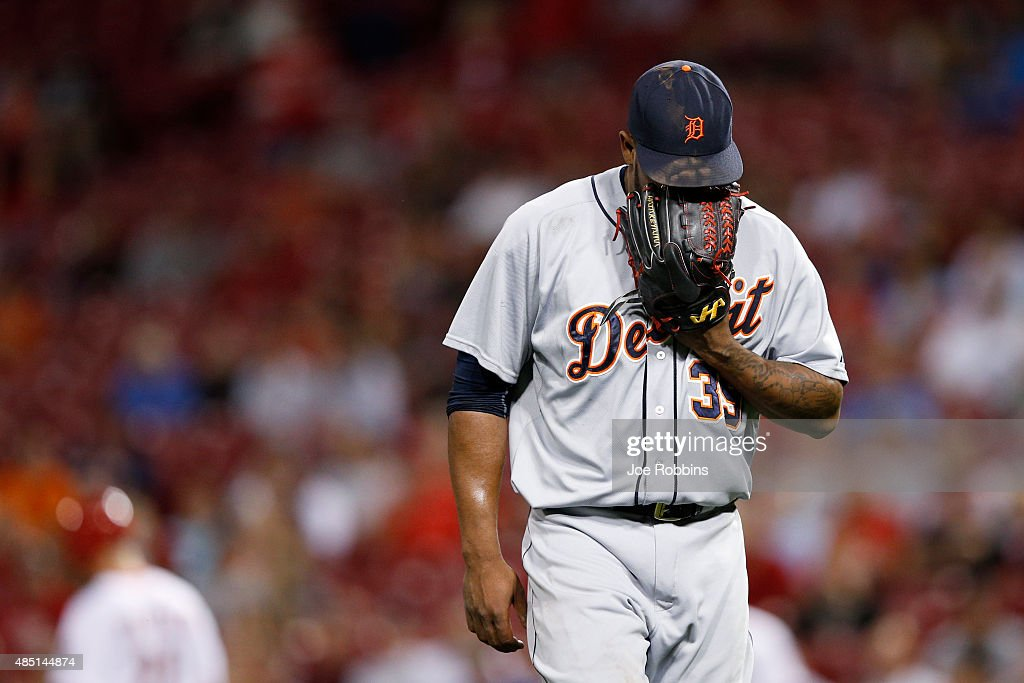 <a gi-track='captionPersonalityLinkClicked' href=/galleries/search?phrase=Neftali+Feliz&family=editorial&specificpeople=5753005 ng-click='$event.stopPropagation()'>Neftali Feliz</a> #39 of the Detroit Tigers reacts after giving up three runs during a ten-run sixth inning against the Cincinnati Reds at Great American Ball Park on August 24, 2015 in Cincinnati, Ohio.