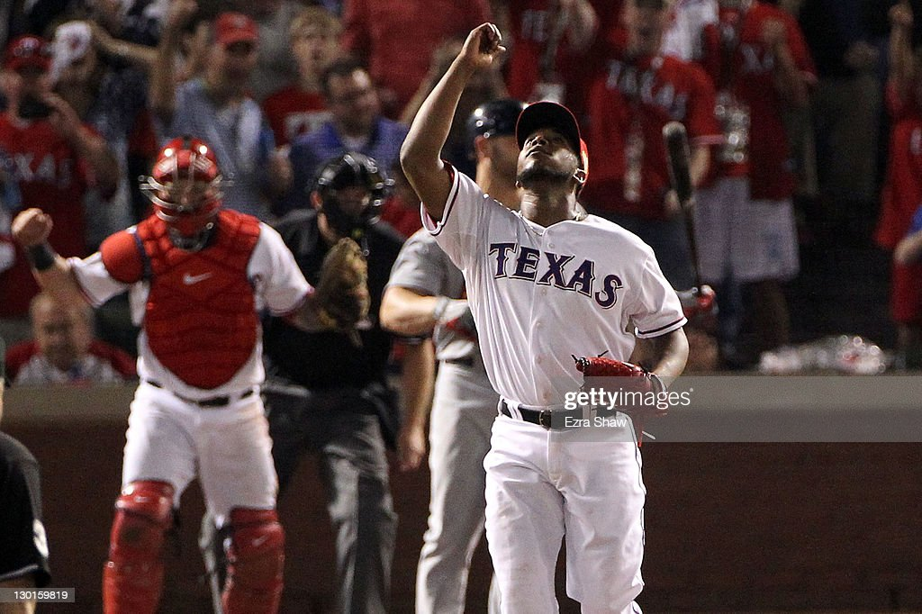 <a gi-track='captionPersonalityLinkClicked' href=/galleries/search?phrase=Neftali+Feliz&family=editorial&specificpeople=5753005 ng-click='$event.stopPropagation()'>Neftali Feliz</a> #30 of the Texas Rangers celebrates after defeating the St. Louis Cardinals 4-0 in Game Four of the MLB World Series at Rangers Ballpark in Arlington on October 23, 2011 in Arlington, Texas.
