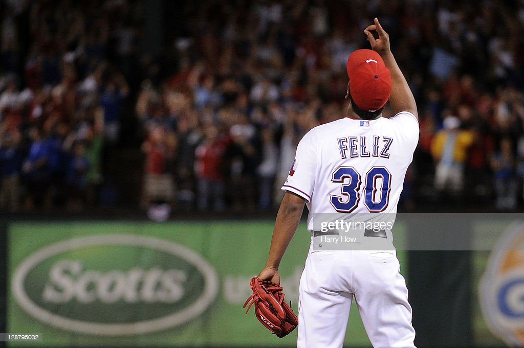 <a gi-track='captionPersonalityLinkClicked' href=/galleries/search?phrase=Neftali+Feliz&family=editorial&specificpeople=5753005 ng-click='$event.stopPropagation()'>Neftali Feliz</a> #30 of the Texas Rangers celebrates after the final out of the Rangers the 3-2 win over the Detroit Tigers in Game One of the American League Championship Series at Rangers Ballpark in Arlington on October 8, 2011 in Arlington, Texas.