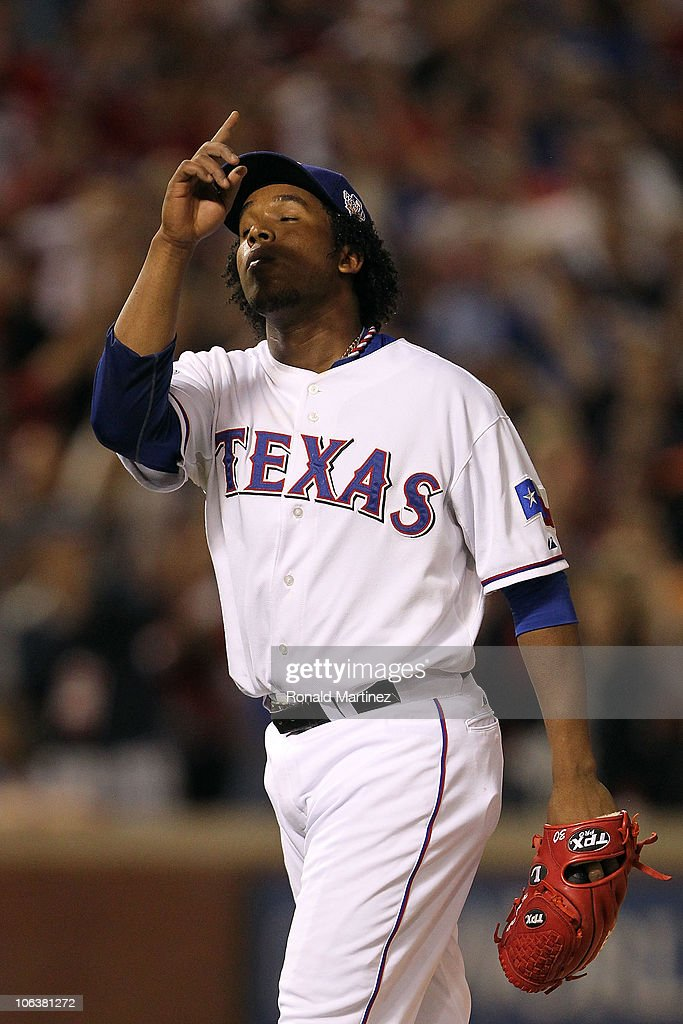 <a gi-track='captionPersonalityLinkClicked' href=/galleries/search?phrase=Neftali+Feliz&family=editorial&specificpeople=5753005 ng-click='$event.stopPropagation()'>Neftali Feliz</a> #30 of the Texas Rangers reacts after he recorded the final out of their 4-2 win against the San Francisco Giants in Game Three of the 2010 MLB World Series at Rangers Ballpark in Arlington on October 30, 2010 in Arlington, Texas.