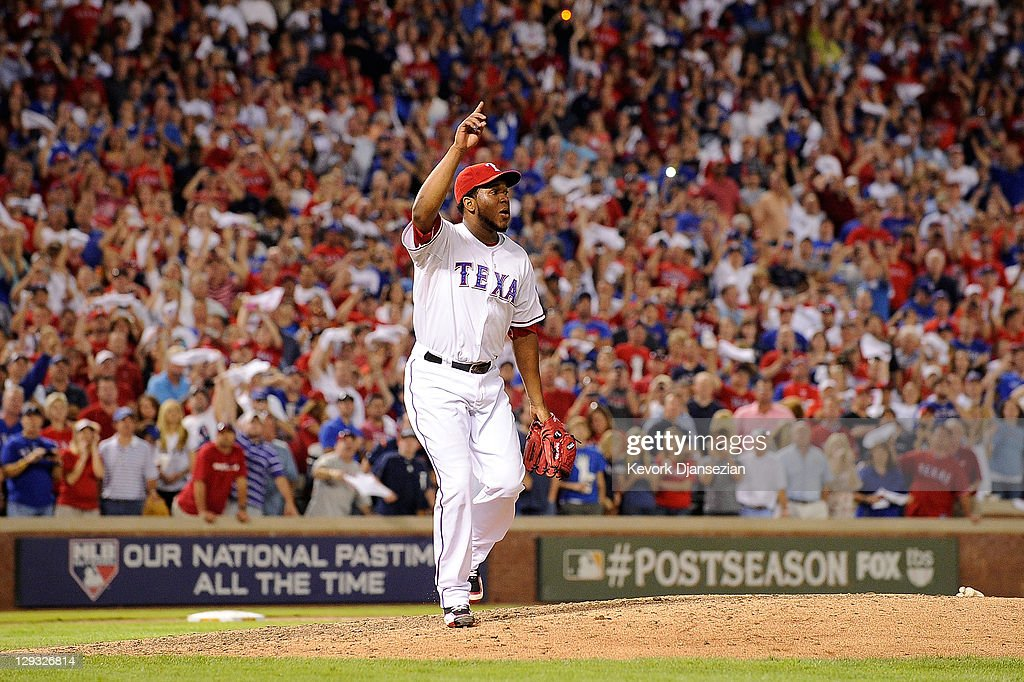 <a gi-track='captionPersonalityLinkClicked' href=/galleries/search?phrase=Neftali+Feliz&family=editorial&specificpeople=5753005 ng-click='$event.stopPropagation()'>Neftali Feliz</a> #30 of the Texas Rangers reacts to a pop fly for the final out of Game Six of the American League Championship Series against the Detroit Tigers advancing the Rangers to the World Series at Rangers Ballpark in Arlington on October 15, 2011 in Arlington, Texas.