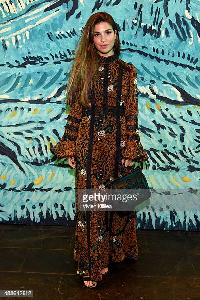 Negin Mirsalehi attends Anna Sui Spring 2016 during New York Fashion Week The Shows at The Arc Skylight at Moynihan Station on September 16 2015 in...