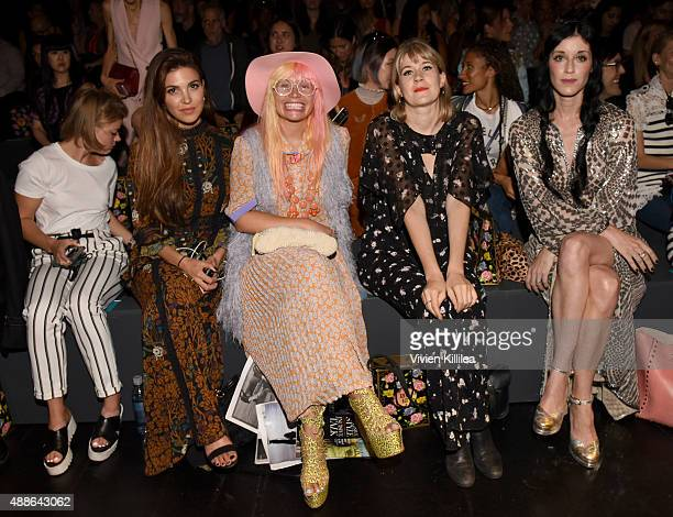 Negin Mirsalehi Fashion Designer Andrea Diodati Tennessee Thomas and Sarah Sophie Flicker attends Anna Sui Spring 2016 during New York Fashion Week...