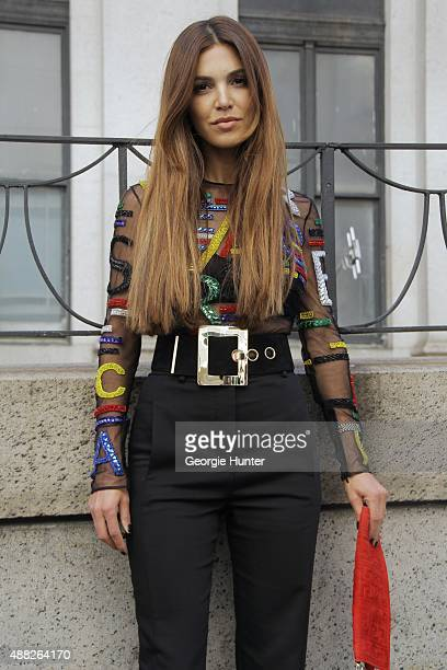 Negin Mirsalehi is seen on the streets of Manhattan outside of the Jeremy Scott Spring 2016 fashion show at Skylight at Moynihan Station wearing full...