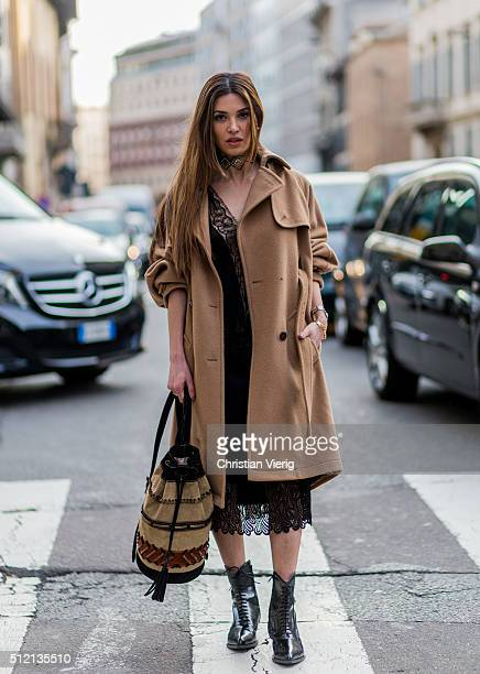 Negin Mirsalehi is wearing a Albertra Feretti dress and bag seen outside Alberta Ferretti during Milan Fashion Week Fall/Winter 2016/17 on February...