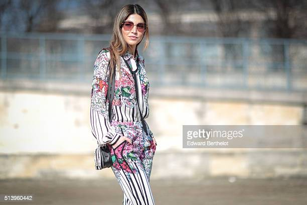Negin Mirsalehi is wearing Elie Saab before the Elie Saab show during Paris Fashion Week Womenswear Fall Winter 2016/2017 on March 5 2016 in Paris...