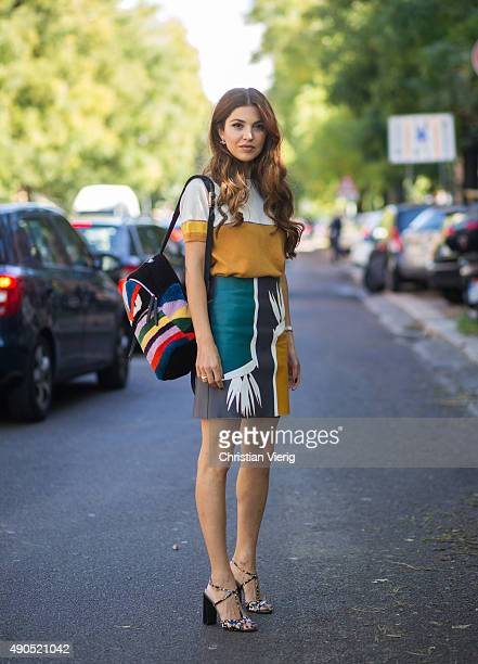 Negin Mirsalehi wearing Fendi during Milan Fashion Week Spring/Summer 16 on September 24 2015 in Milan Italy