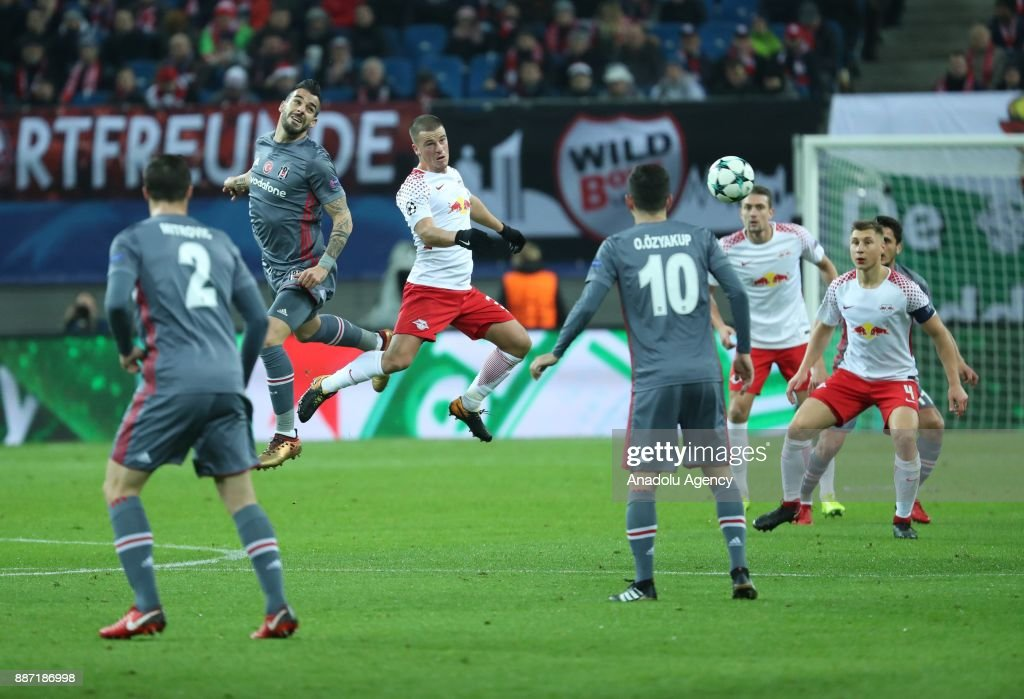 Negredo (2nd L) of Besiktas in action during the UEFA Champions League group G soccer match between RB Leipzig and Besiktas at the Leipzig Arena in Leipzig, Germany on December 06, 2017.