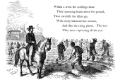 Negro labourers weeding cotton under the eyes of a mounted white overseer Southern states of USA 1860 Wood engraving