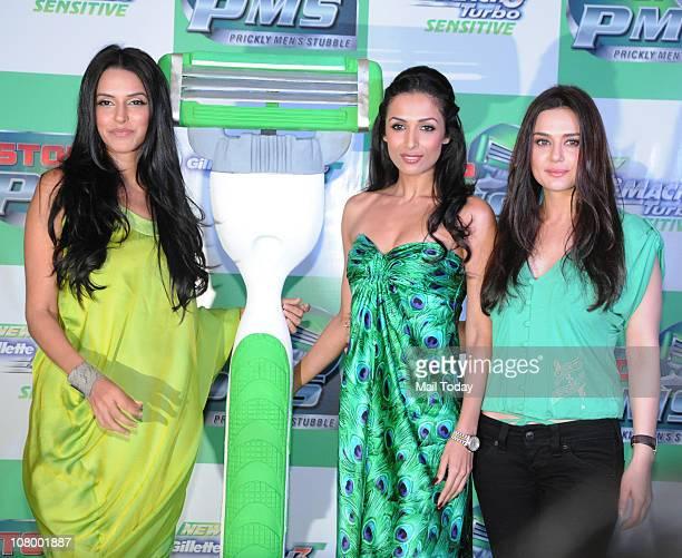 Neha Dhupia Malaika Arora Khan and Preity Zinta at the Gillette Mach3 Turbo Sensitive 'Stop PMS' campaign in Mumbai on January 11 2011
