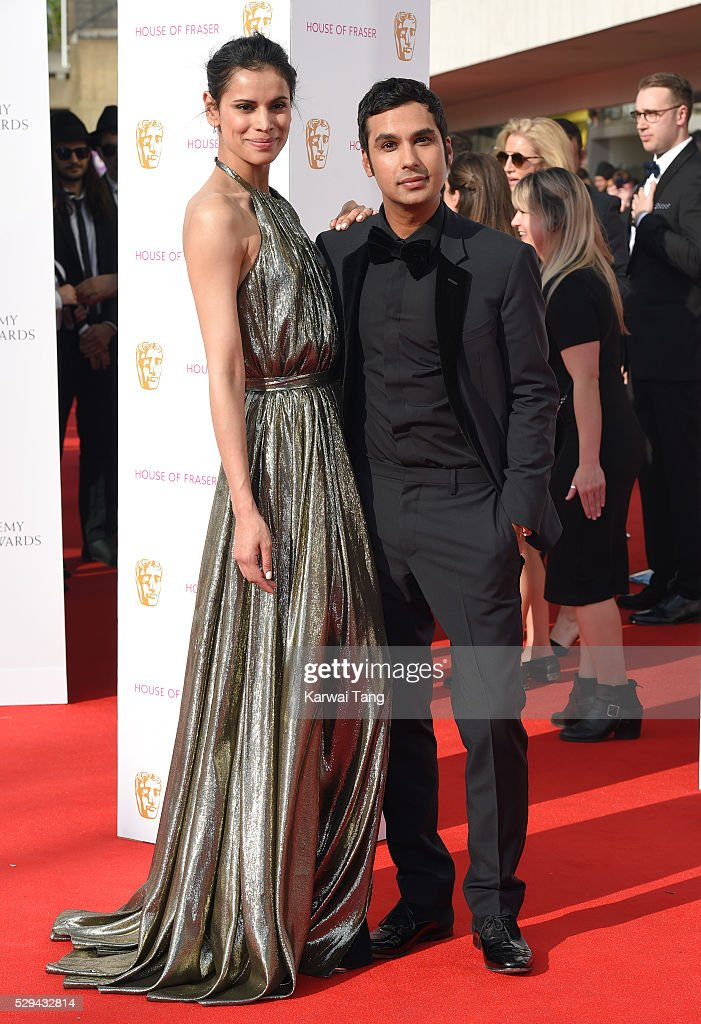Neha Kapur and Kunal Nayyar arrive for the House Of Fraser British Academy Television Awards 2016 at the Royal Festival Hall on May 8, 2016 in London, England.