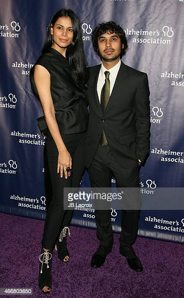 Neha Kapur left and Kunal Nayyar attend the 23rd Annual 'A Night At Sardi's' To Benefit The Alzheimer's Association at The Beverly Hilton Hotel on...