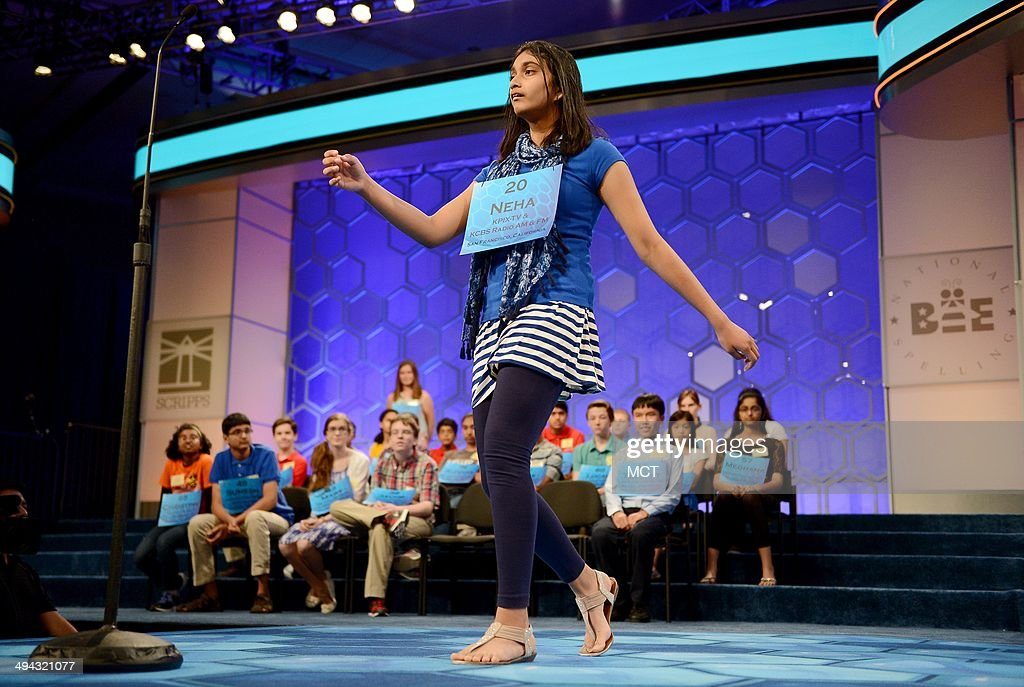 Neha Konakalla, of Cupertino, Calif., competes in the semifinals of the 2014 Scripps National Spelling Bee in National Harbor, Md., Thursday, May 29, 2014.
