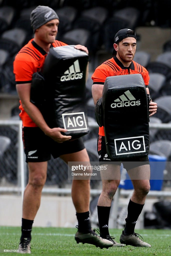 Nehe Milner- Skudder of the All Blacks during a New Zealand All Blacks Training Session on August 22, 2017 in Dunedin, New Zealand.