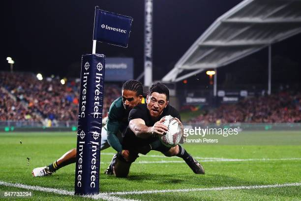 Nehe MilnerShudder of the All Blacks dives over to score a try during the Rugby Championship match between the New Zealand All Blacks and the South...
