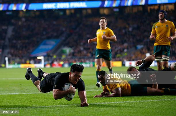 Nehe MilnerSkudder of New Zealand dives over the line to score the first try during the 2015 Rugby World Cup Final match between New Zealand and...