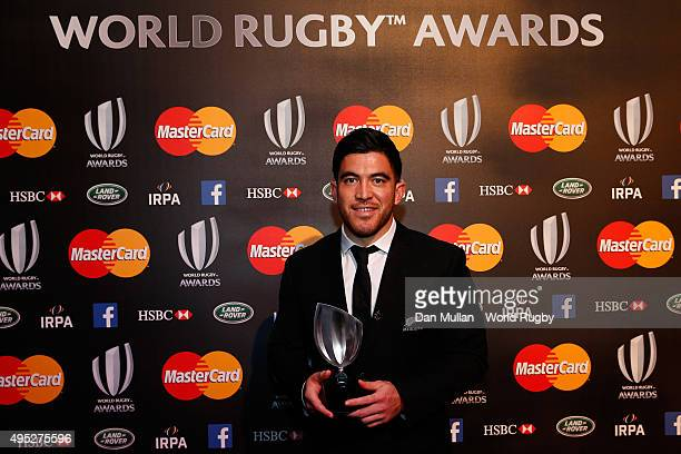 Nehe MilnerSkudder of New Zealand poses after receiving the Breakthrough Player of the Year award during the World Rugby Awards 2015 at Battersea...