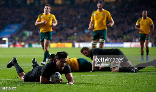 Nehe MilnerSkudder of New Zealand scores the first try during the 2015 Rugby World Cup Final match between New Zealand and Australia at Twickenham...