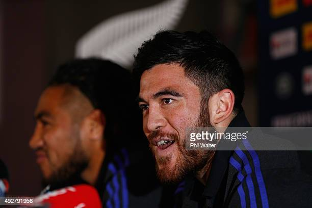 Nehe MilnerSkudder of the All Blacks speaks alongside Maa Nonu during a New Zealand All Blacks team announcement at the Swansea RFC on October 15...
