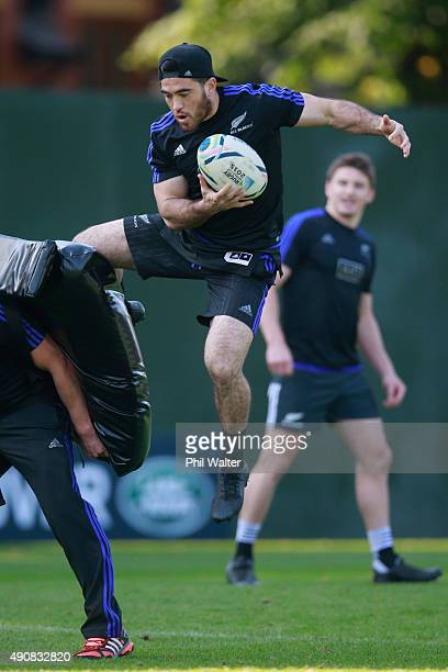 Nehe MilnerSkudder of the All Blacks takes the high ball during a New Zealand All Blacks Captain's Run at Sophia Gardens on October 1 2015 in Cardiff...