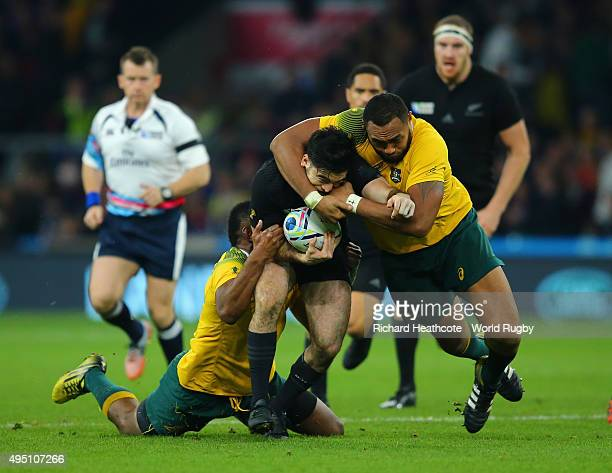Nehe MilnerSkudder of the New Zealand All Blacks receives a high tackled by Sekope Kepu of Australia during the 2015 Rugby World Cup Final match...