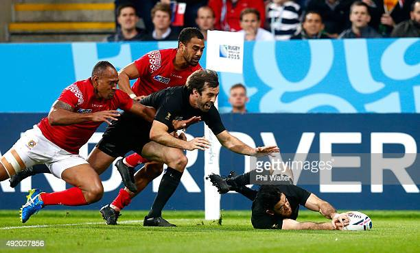 Nehe MilnerSkudder of the New Zealand All Blacks scores their fourth try during the 2015 Rugby World Cup Pool C match between New Zealand and Tonga...