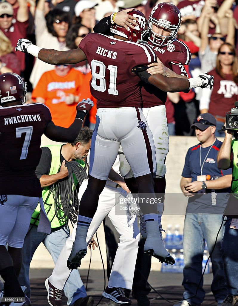 Nehemiah Hicks #81 of the Texas A&M Aggies celebrates with <a gi-track='captionPersonalityLinkClicked' href=/galleries/search?phrase=Johnny+Manziel&family=editorial&specificpeople=9703372 ng-click='$event.stopPropagation()'>Johnny Manziel</a> #2 of the Texas A&M Aggies after Manziel scored in the second quarter against the Sam Houston State Bearkats at Kyle Field on November 17, 2012 in College Station, Texas.