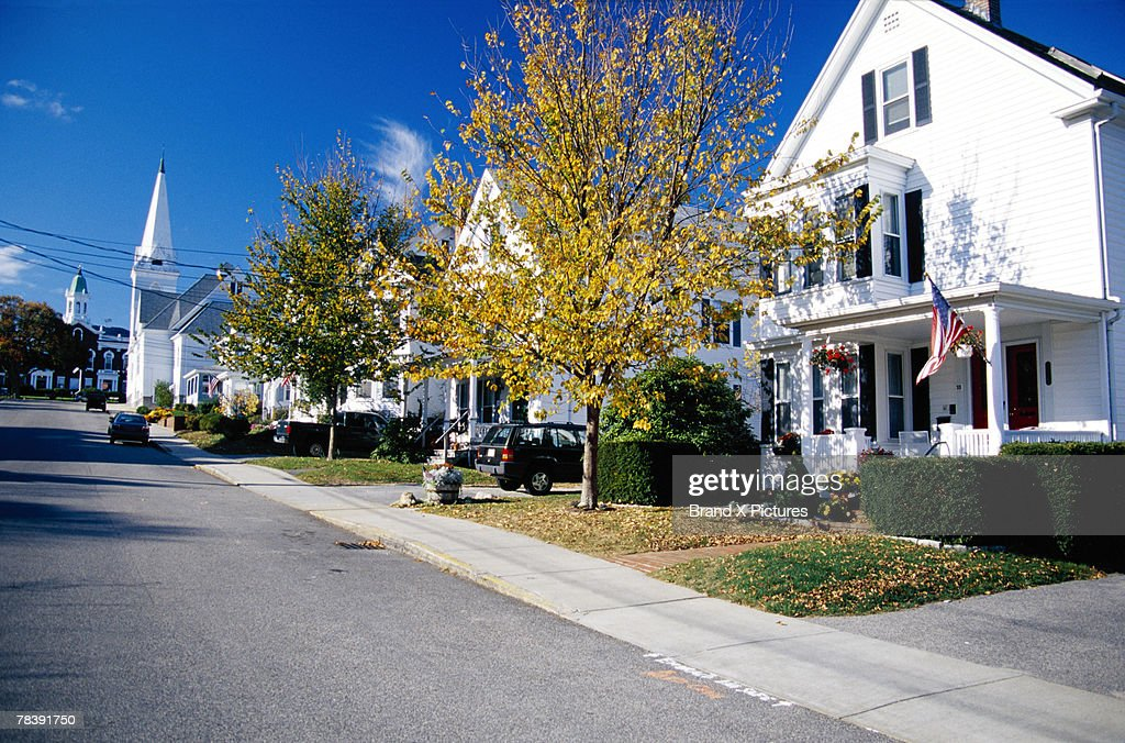 Neighborhood street, Cape Cod, Massachusetts : Stock Photo