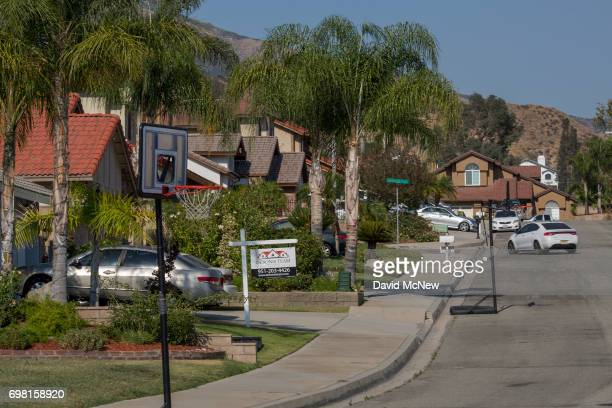 A neighborhood that was constructed in recent decades lies atop the San Andreas Fault on June 18 2017 in Highland California An earthquake early...