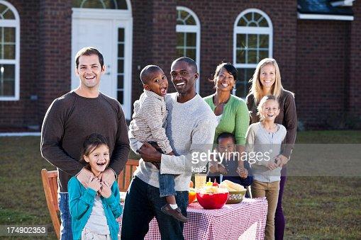 Neighbors having picnic