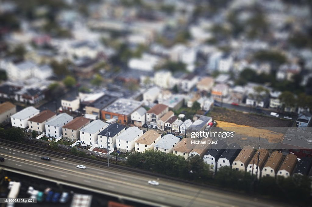 Neighbourhood and interstate, aerial view : Stock Photo
