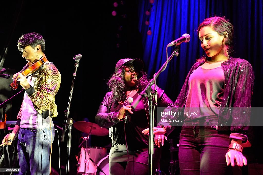 Neil Amin-Smith, Kandaka Moore and Nikki Marshall of Clean Bandit perform on stage at O2 Shepherd's Bush Empire on January 18, 2013 in London, England.