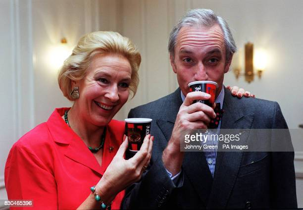 Neil and Christine Hamilton drink coffee at The Berner's Hotel in London for the World's Biggest Coffee Morning in aid of Macmillan Cancer Relief