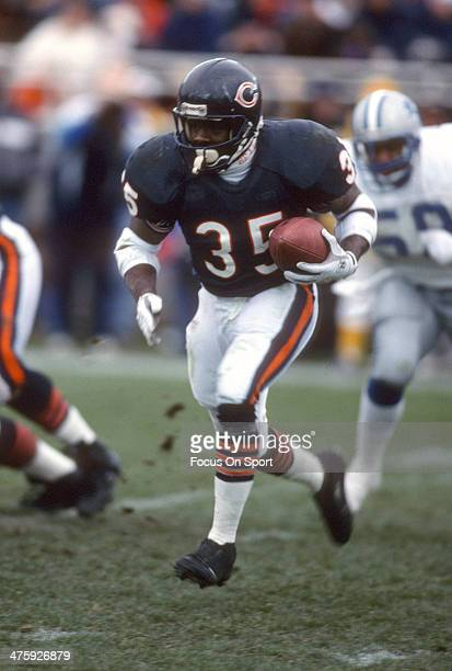 Neil Anderson of the Chicago Bears carries the ball against the Detroit Lions during an NFL Football game December 2 1990 at Soldier Field in Chicago...