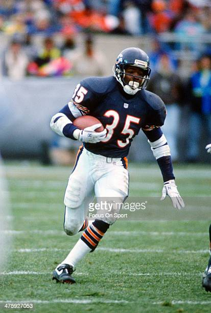 Neil Anderson of the Chicago Bears carries the ball against the Detroit Lions during an NFL Football game November 3 1991 at Soldier Field in Chicago...