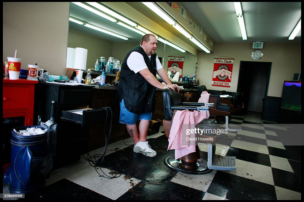 Neil Armstrong's former barber Marx Sizemore in his shop in Labanon Ohio Sizemore is planning to sell Armstrong's hair to collectors