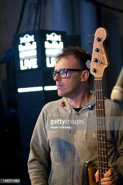 Neil Barnes of Leftfield on stage during sound check at Brixton Academy on April 21 2012 in London United Kingdom