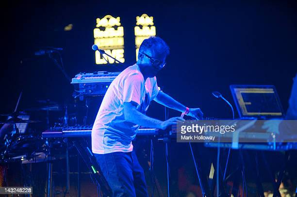 Neil Barnes of Leftfield performs on stage at Brixton Academy on April 21 2012 in London United Kingdom