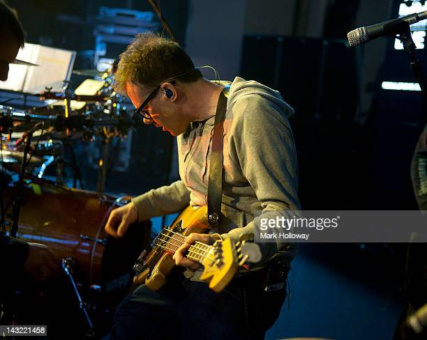 Neil Barnes of Leftfield performs on stage during sound check at Brixton Academy on April 21 2012 in London United Kingdom