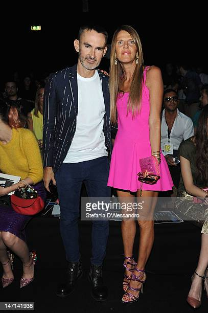 Neil Barrett and Anna Dello Russo attend the DSquared2 show as part of Milan Fashion Week Menswear Spring/Summer 2013 on June 26 2012 in Milan Italy