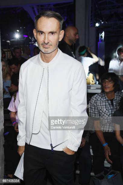 Neil Barrett arrives at the Dsquared2 show during Milan Men's Fashion Week Spring/Summer 2018 on June 18 2017 in Milan Italy